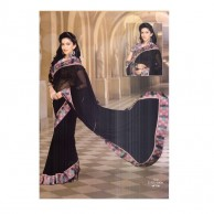 Plain Floral Jacket Saree SR1397