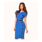 Vestidos V Neck Office Dress Blue NIS 139