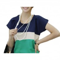 Teen Tops Short Sleeve Stripe Chiffon T Shirt NIS104