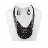 Multilayer Beaded Chain And Earrings Jewellery Set