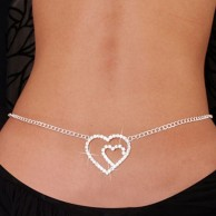 DOUBLE HEART RHINESTONE BELLY CHAIN AND LOWER BACK