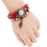 Red Leather Wrist Watch LW013
