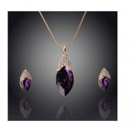 18k gold color plated austrian crystal water drop purple jewelry set