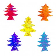 10 pieces Pack of glitter spiral Designed Multi Color Christmas Decoration Trees Stickers