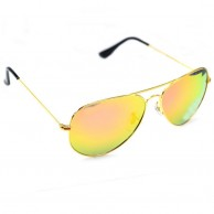 Gold Aviator Polarized Sunglasses For Men With Pouch