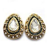 White Stoned Fashion Gold Platedwedding Earrings