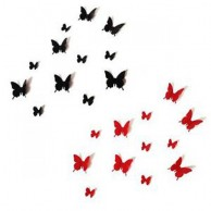 3D Butterflies Black and Red