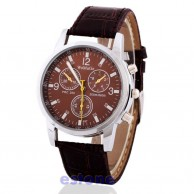 WoMaGe Men's Brown Strap Leather Wrist Watch
