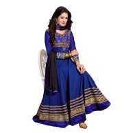 Embroidered Blue and Gold Anarkali Suit 5004