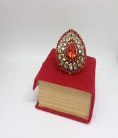 Women Red & Whiter Crystal Ring