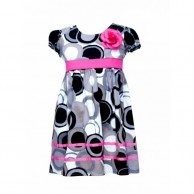 Rose At Chest Rounded Design Dress