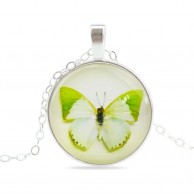 Women Vintage Light Green Butterfly Necklace