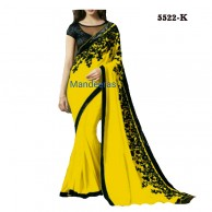 Plain  Color Saree With Black Thread Work Design No 5522K