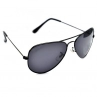 Full Black  Aviator Polarized Sunglasses For Men With Pouch