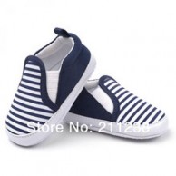 Black and White Stripe Baby Boy Shoes