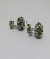 Silver Palted Green Stones Earring